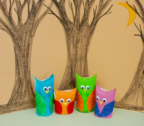 Toddler Crafts With Paper Towel Rolls: Owl Family Play Set