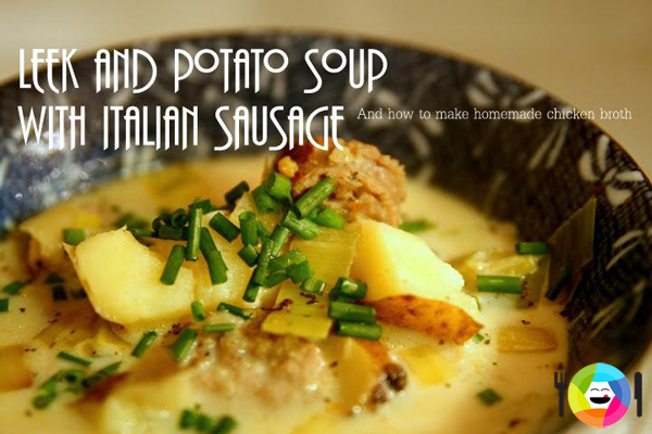 Leek and Potato Soup with Italian Sausage by Valerie