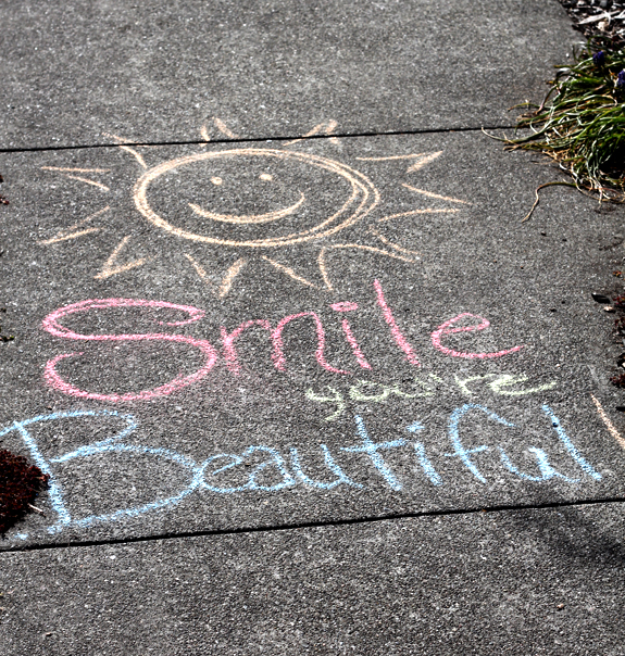 happy sidewalk message
