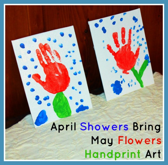 April Showers Bring May Flowers Handprint Art