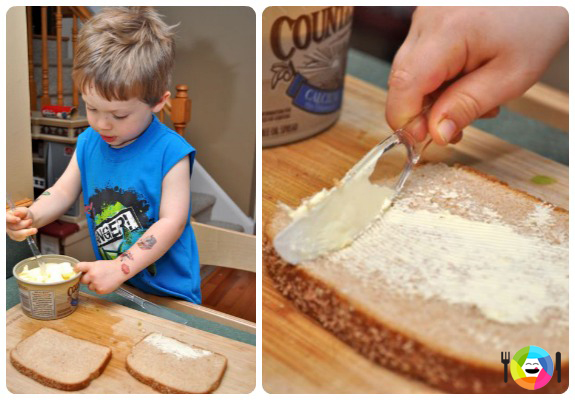 Healthy Grilled Cheese Sandwiches - Have Your Child Spread the Butter