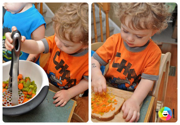 Healthy Grilled Cheese - Have the Kids Mash the Steamed Veggies