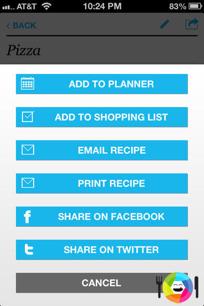 Add the Recipe to the Shopping List and Planner