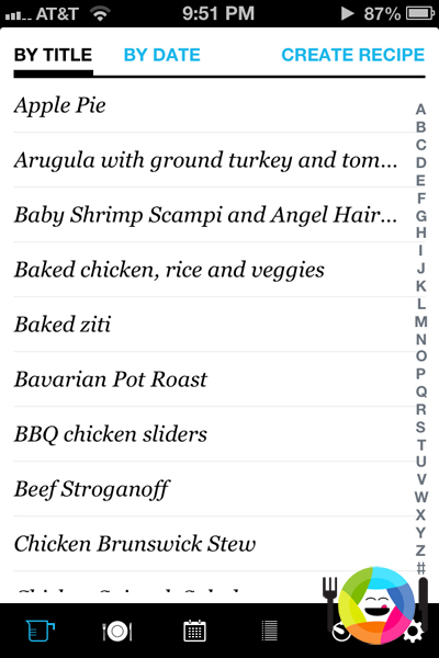 All Recipes Shown in Pepperplate App