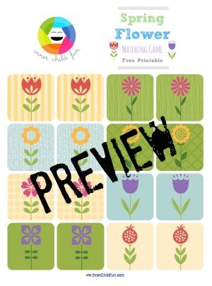 Spring Flower Matching Game -- free printable
