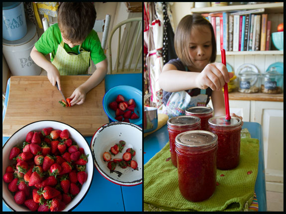 kids in the kitchen making jam