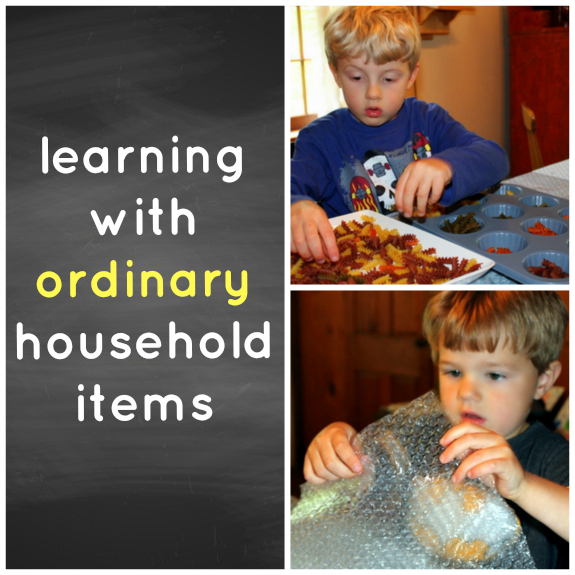 Learning with Ordinary Household Items- You don't have to spend a lot to encourage learning with manipulatives!