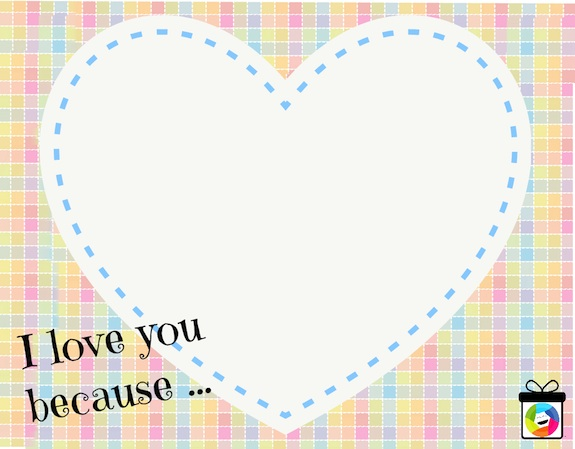 Printable Gratitude Cards for Kids - I love you because