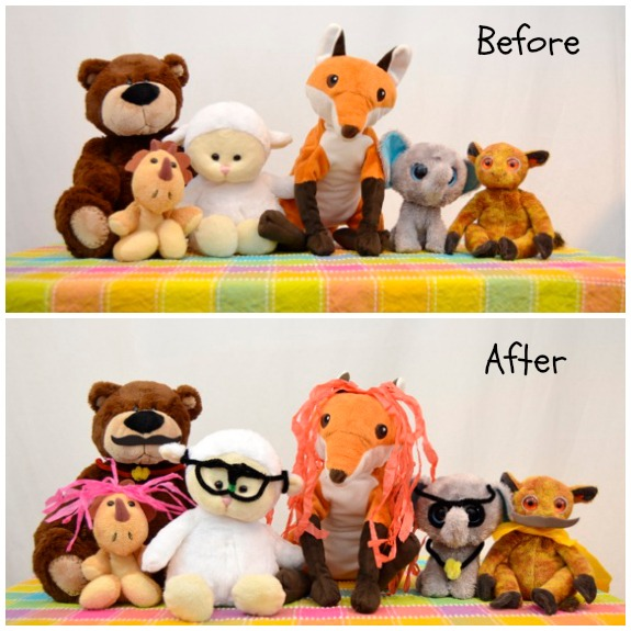 "Create disguises for stuffed animal ""spies""."