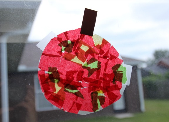 Fall Themed Apple Suncatcher Craft