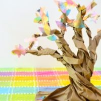 Autumn Tree Sculptures from a Paper Bag