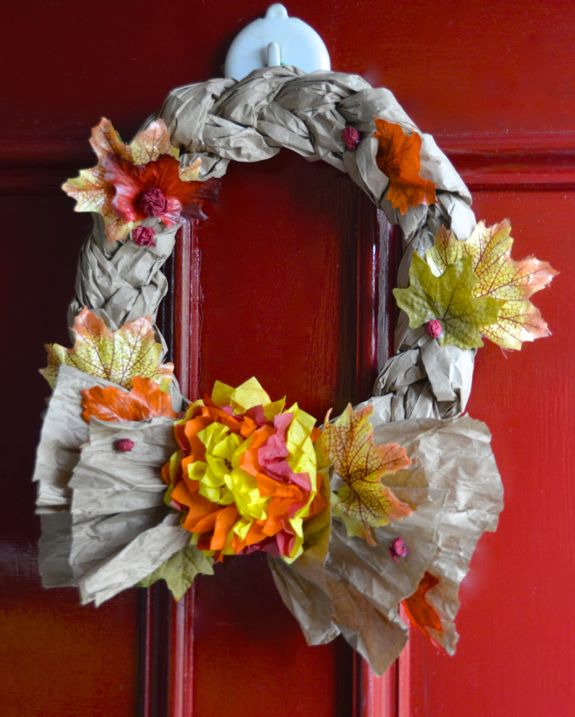 Easy Recycled Crafts - Fall Wreaths