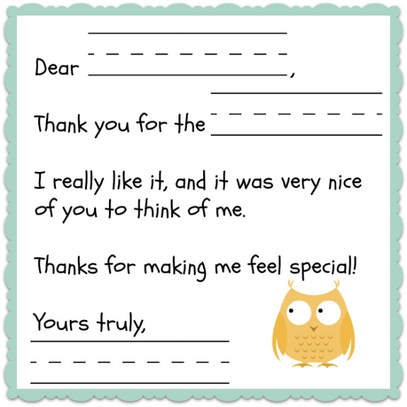 Thank You Note Template for Kids -- free printable