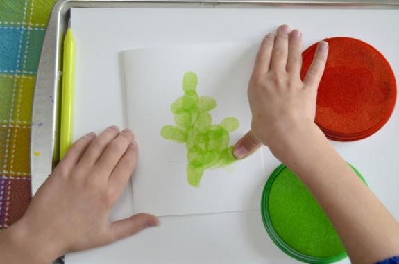 Craft for Kids -- Fingerprint Lights Card