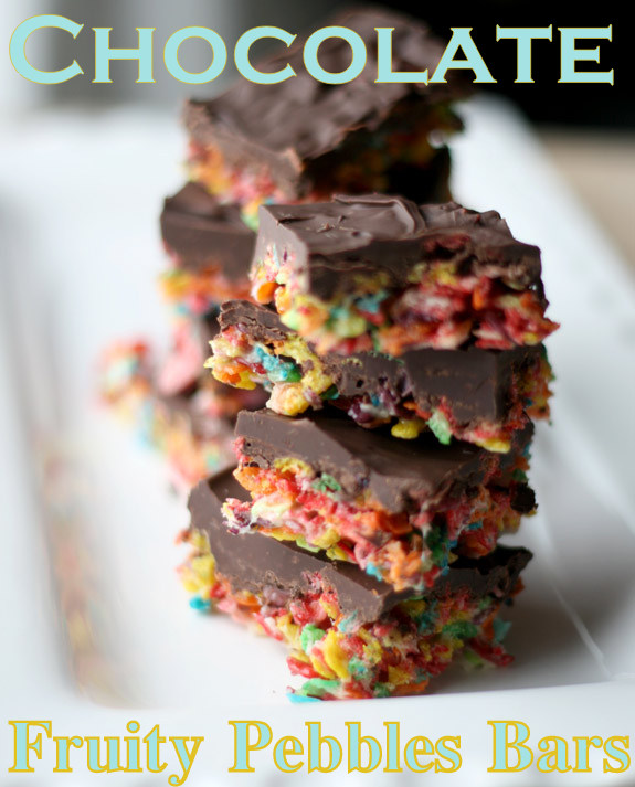 Chocolate Fruity Pebbles Bars #kid-friendly