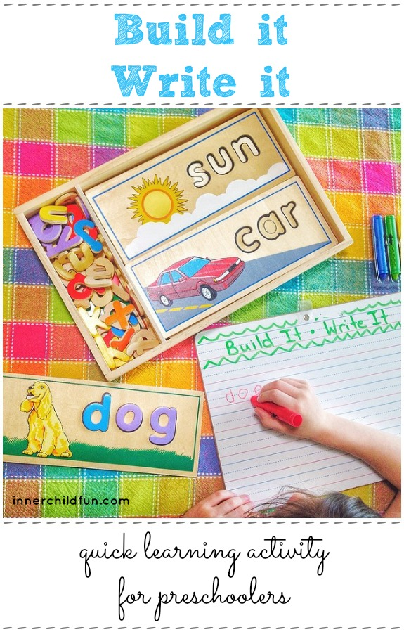 Build It! Write it! Quick learning activity for preschoolers