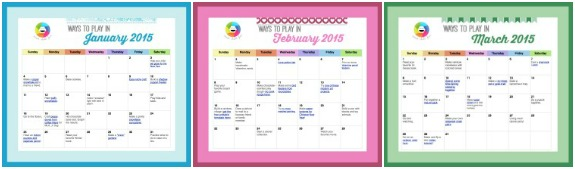 Ways to Play Winter 2015 Printable Calendar