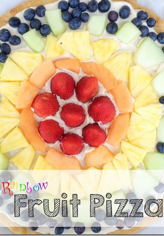 St. Patrick's Day Treats -- Rainbow Fruit Pizza!