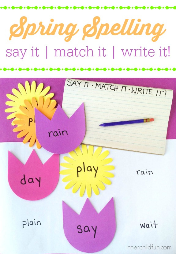 Spring Spelling -- Say it, Match it, Write it!