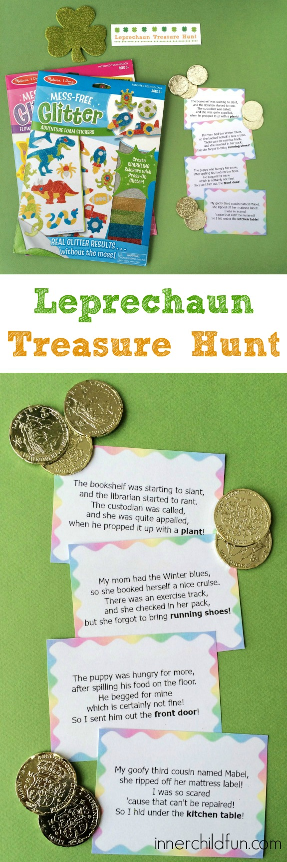 Leprechaun Treasure Hunt Clues -- free printable