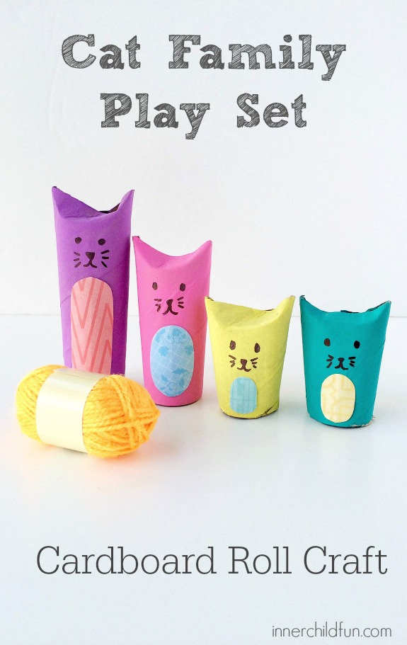 Cardboard Roll Crafts - Cat Family Play Set!