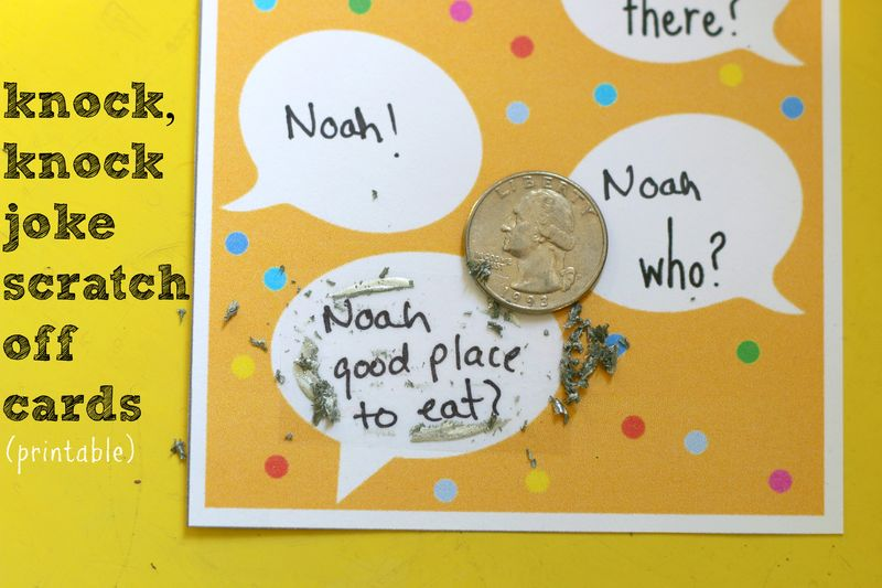 20 Knock Jokes For Kids With Scratch Off Card Printable
