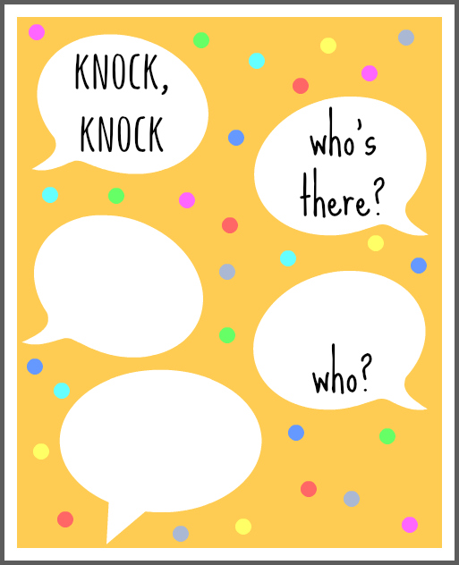 20 Knock Knock Jokes for Kids -- with scratch off card printable!