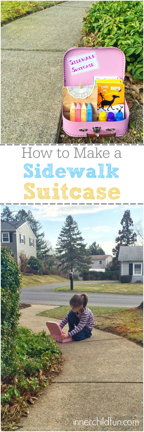 Fun Outdoor Activity Idea -- Sidewalk Suitcase