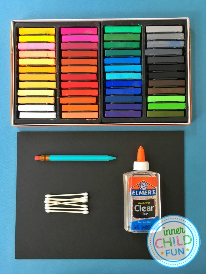 Chalk and Glue Art Project for Kids