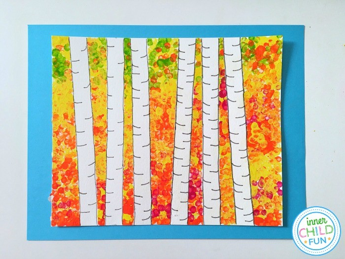 Fall Art Project for Kids - finished painting