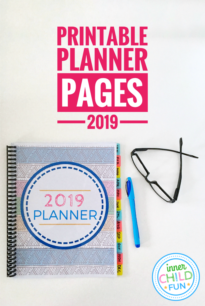 Printable Planner Pages 2019 Free Download Inner Child Fun