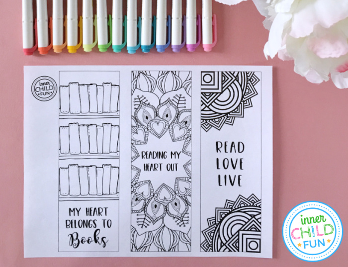Free Valentine Printables - Color Your Own Bookmarks