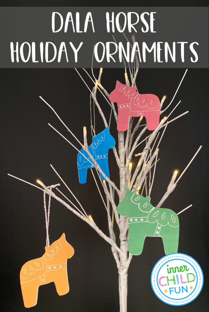 Dala Horse Ornaments with Printable Template