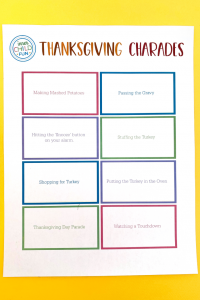 Thanksgiving Charades Game for Kids